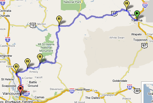 Day 3 Route Map - Yakima to Vancouver