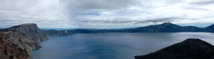 A stitched together panorama of Crater Lake