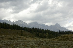 The Grand Tetons - pre-biblical proportion rainstorm, it's just starting to spit rain as i take this photo