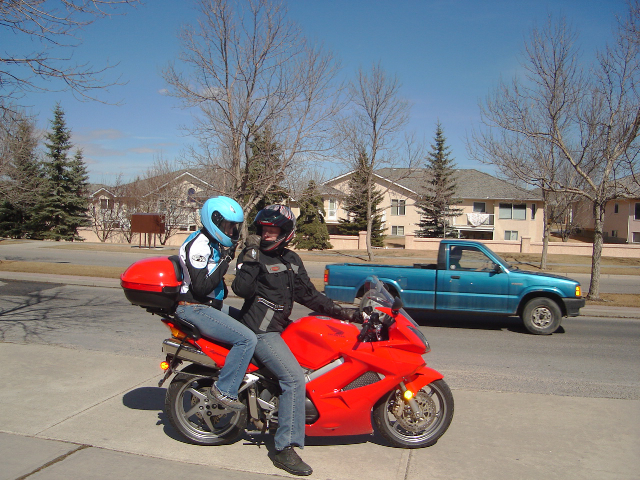 Fiona and I getting ready to go for a ride.