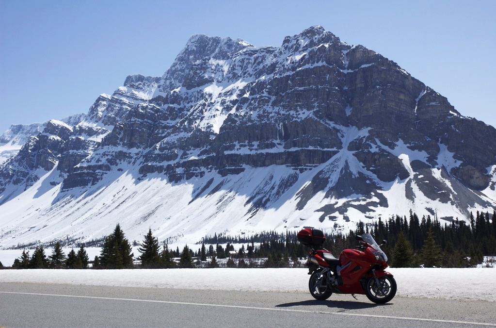 Just past the Bow Glacier on the Columbia Icefields Parkway.