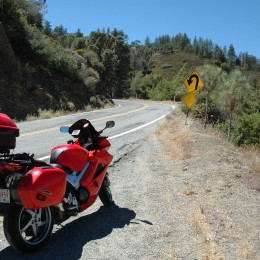 Del Puerto approaching the Lick Observatory - One of the few marked corners. Lots of 10-20 mph switchback.